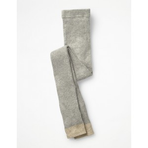Ribbed Footless Tights - Grey Marl
