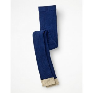 Ribbed Footless Tights - Starboard Blue