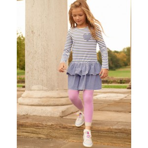 Ribbed Footless Tights - Lilac Pink