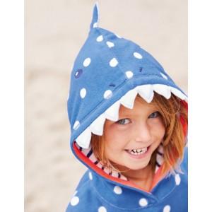 Applique Towelling Beach Dress - Penzance Blue/Ivory Spot Shark