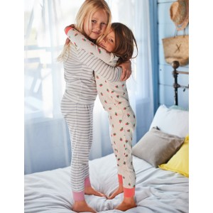 Twin Pack Long John Pyjamas - Ivory Strawberry Spot/Grey