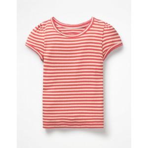 Short-Sleeved Pointelle Top - Jam Red/Ivory