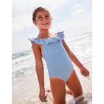 Frilly Swimsuit - Ivory/Skipper Blue