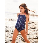 Halterneck Swimsuit - Deep Sea Blue Vintage Posy