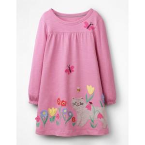 Big Applique Dress - Lilac Pink Cat