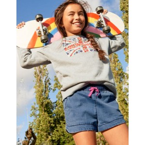 Embroidered Slouchy Sweatshirt - Grey Marl Flag