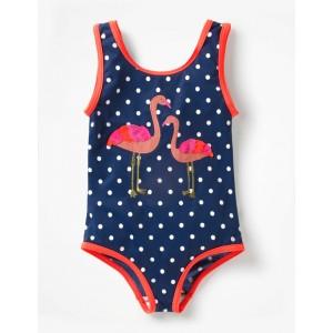 Applique Swimsuit - Deep Sea Blue Flamingos