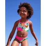 Ruffle Bikini Top - Blue Quartz Tropical Floral