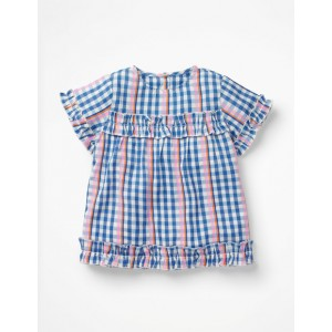 Pretty Ruffle Detail Top - Rainbow Gingham