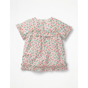 Pretty Ruffle Detail Top - Parisian Pink Cherries