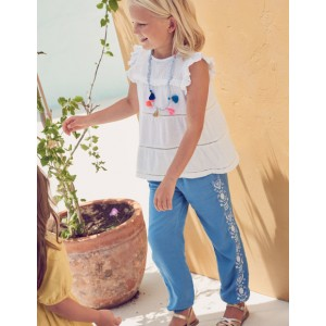 Embroidered Floaty Trousers - Elizabethan Blue