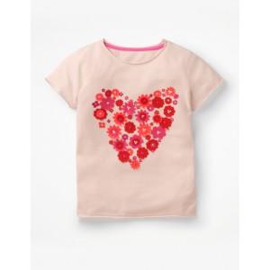 Flutter Applique T-Shirt - Parisian Pink Heart