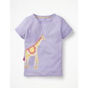 Animal Big Applique T-Shirt - Parma Violet Purple Giraffe