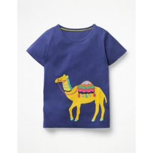 Safari Applique T-Shirt - Starboard Blue Camel
