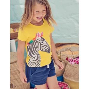 Safari Applique T-Shirt - Sunshine Yellow Zebra