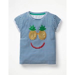 Shiny Applique T-Shirt - White/Blue Pineapple Face