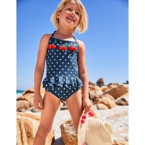 Halterneck Applique Swimsuit - Deep Sea Blue Cherries