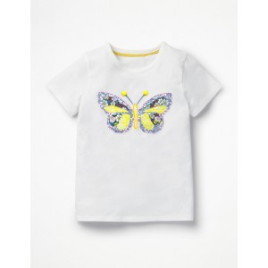 Patchwork Applique T-Shirt - White Butterfly