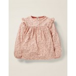 Floaty Ruffle Top - Provence Dusty Pink Cats