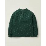 Foil Print Star Top - Emerald Night Green Gold Stars