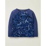 Sequin Raglan T-Shirt - College Blue