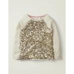 Sequin Raglan T-Shirt - Oatmeal Marl