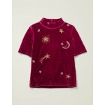 Embellished Velvet T-Shirt - Red Moon and Stars