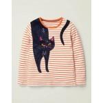 Stripy Animal Applique T-Shirt - Ivory/Orange Cat