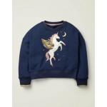 Embellished Sweatshirt - College Blue Unicorn