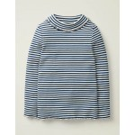 Ruffle Roll Neck T-Shirt - College Blue/Ivory