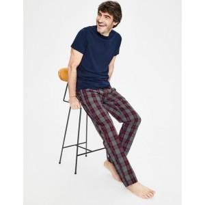 Cotton Poplin Pyjama Bottoms - Charcoal Marl Check