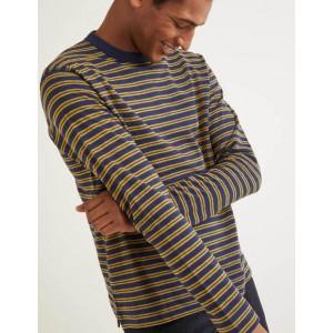 Long Sleeve Textured Crew - Saffron/Navy Stripe