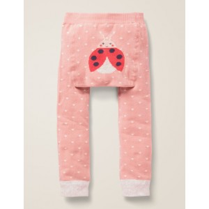 Knitted Leggings - Chalky Pink Pin Spot