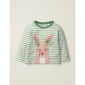 Novelty Animal T-Shirt - Ivory/Rosemary Green Bunny