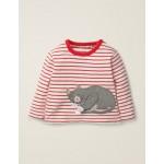 Novelty Animal T-Shirt - Ivory/Carmine Red Cat