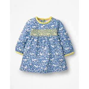 Smocked Jersey Dress - Elizabethan Blue Wild Bunnies