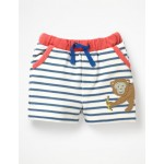 Fun Jersey Shorts - White/Lagoon Blue Monkey
