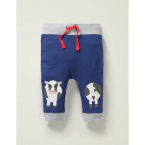 Applique Patch Jersey Bottoms - College Navy Cow