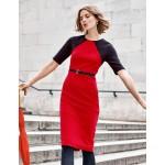 Poppy Ottoman Dress - Red/Navy