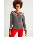 Cordelia Fair Isle Sweater - Charcoal Melange