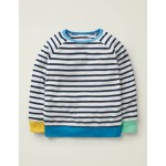 Long-Sleeved Towelling T-Shirt - White/Starboard Blue