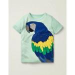 Bright Animal Textured T-Shirt - Fresh Water Blue Parrot