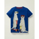 Animal Applique T-Shirt - Bright Blue Meerkats