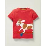 Animal Applique T-Shirt - Cherry Tomato Red Dog