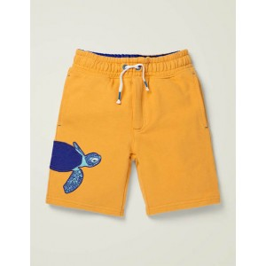 Applique Sweatshorts - Tuscan Sun Yellow Sea Turtle