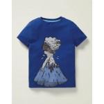 Colour-Change Sequin T-Shirt - Bright Blue Volcano