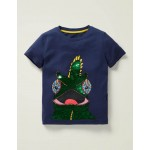 Colour-Change Sequin T-Shirt - College Navy Chameleon
