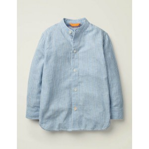 Grandad Collar Shirt - Sky Blue/White