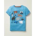 Animals Printed T-Shirt - Surfboard Blue Animals