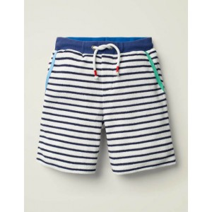 Rib Waist Textured Shorts - White/Starboard Blue
